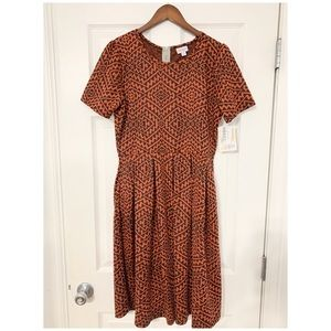 NWT LulaRoe Amelia Orange Print Dress